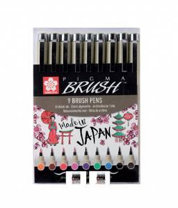 Bilde av Sakura Pigma Brushpen, 9 stk/ farger