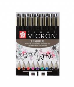 Bilde av Sakura Micron Fineliners, 9 stk/ farger
