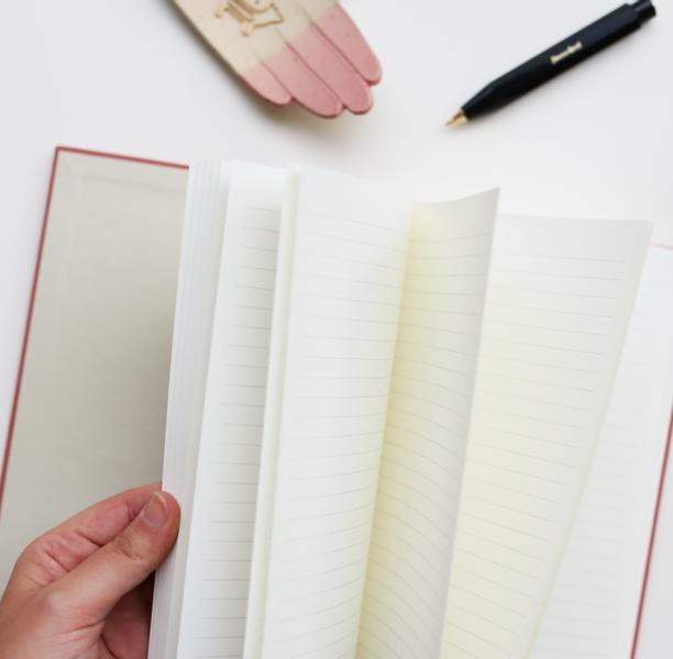 Kartotek Hardcover Notatbok A5, Rose/ Linjer