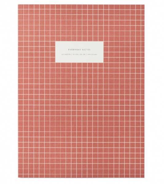 Notatbok Check Brick Red, linjert A4