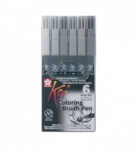 Bilde av KOI Coloring Brush Pen, Grey 6 stk