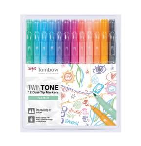 Bilde av Tombow Twin Tone Pastels Tusjsett, 12 stk/ 2