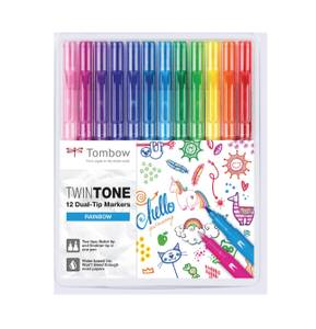 Bilde av Tombow Twin Tone Rainbow Tusjsett, 12 stk/ 2