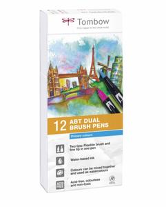 Bilde av Tombow 12 stk Brush Pens, primary