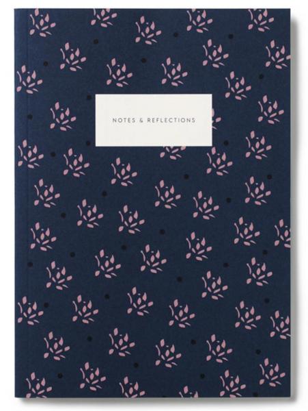 Notatbok, Floral Navy Plain A5