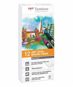 Bilde av Tombow 12 stk Brush Pens, Grey