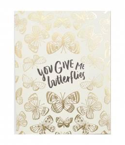 Bilde av Letterpress kort, You give me butterflies