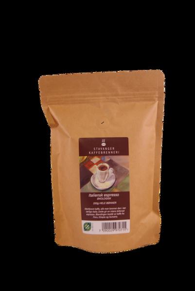 Økologisk espresso italienskbrent 250g, Hele bønner