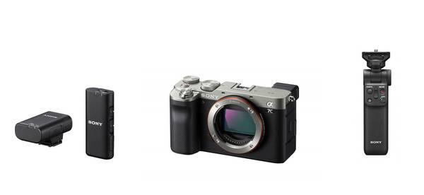 Bilde av Sony Alpha A7C + grep og mikrofon