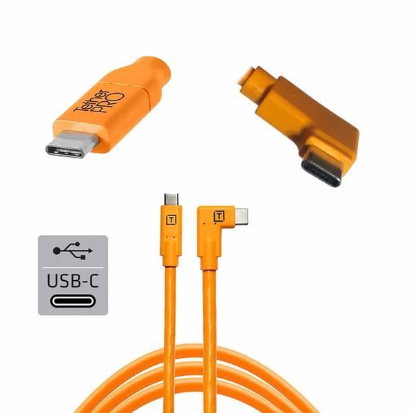 Bilde av TetherPro USB-C til USB-C 4,6m Vinklet   Orange