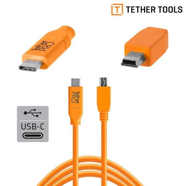 Bilde av TETHERPRO USB-C TIL 2.0 MINI-B 5- PIN 4.6M ORANGE