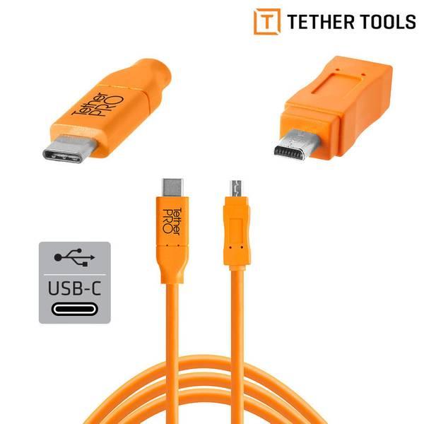 Bilde av TETHERPRO USB-C TIL 2.0 MINI-B 8- PIN 4.6M ORANGE