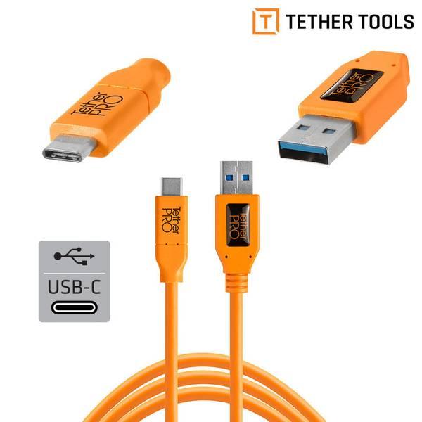 Bilde av TETHERPRO USB 3.0 TIL USB-C 4.6M ORANGE