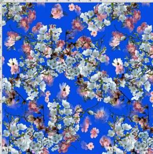 Bilde av French terry - Flowers Blue