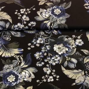 Bilde av Viskosejersey - Blue flowers on black
