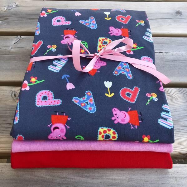 Stoffpakke Peppa Gris - Mørk Grå Rosa Rød