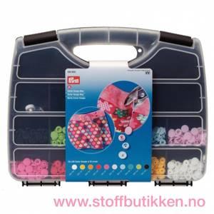 Bilde av Prym colour snap sorteringskasse med verktøy og 300 knapper