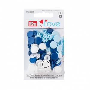 Bilde av Prym trykknapper - Hvit, lys blå, mørk blå 30pk