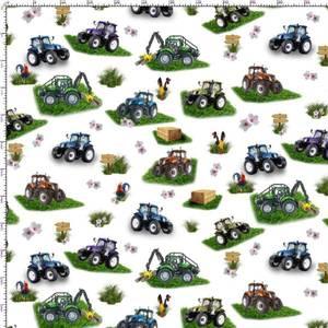 Bilde av Poplin Cotton - Traktor hvit