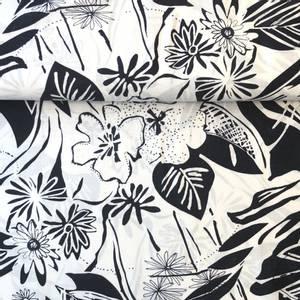 Bilde av Bomull-viskose - Flowers Navy/offwhite