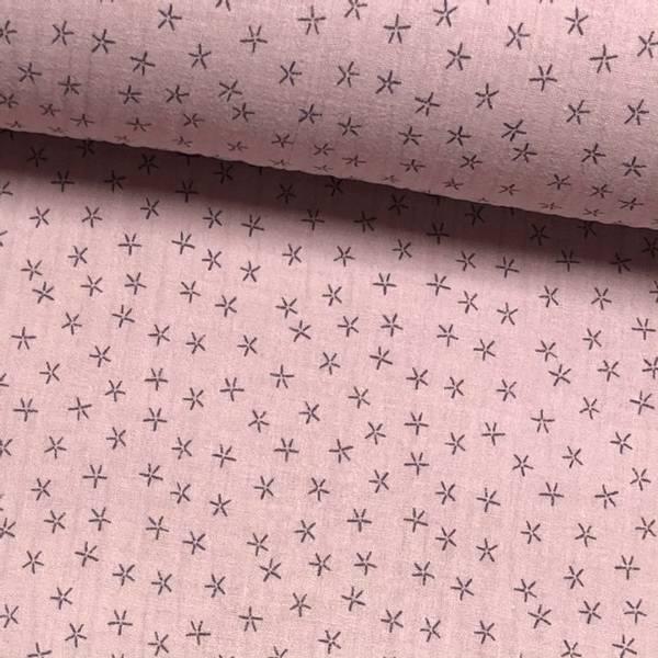 Tripple Musselin - Stjerner Rose