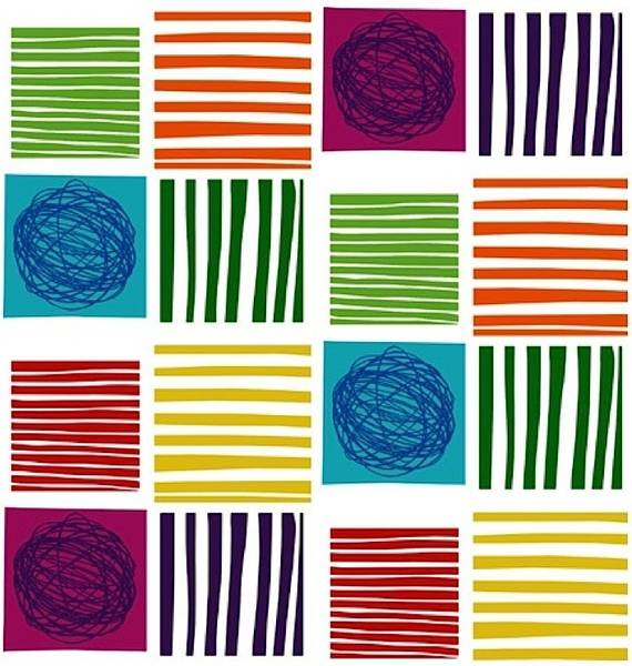 Bilde av 60 cm Twist - 7 cm store flerfargete firkanter på hvit