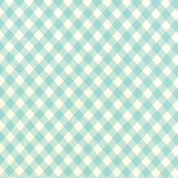 Bilde av Vintage Picnic - 1 cm mint-hvit-lysmint rutemønster på skrå