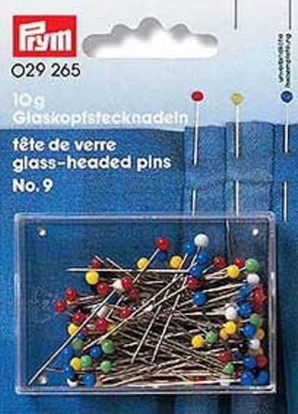 Bilde av Prym knappenåler med flerfargete glasshoder
