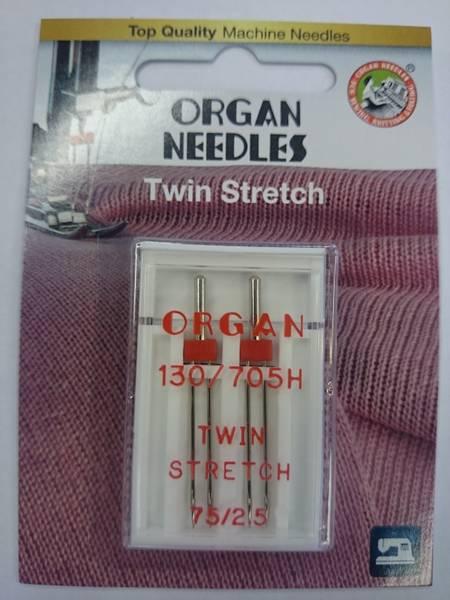 Bilde av Organ symaskinnål - 2 st., Tvilling Stretch 2,5 mm 75/11