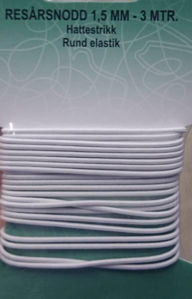 Bilde av Rundstrikk - hattestrikk, 1,5 mm - hvit