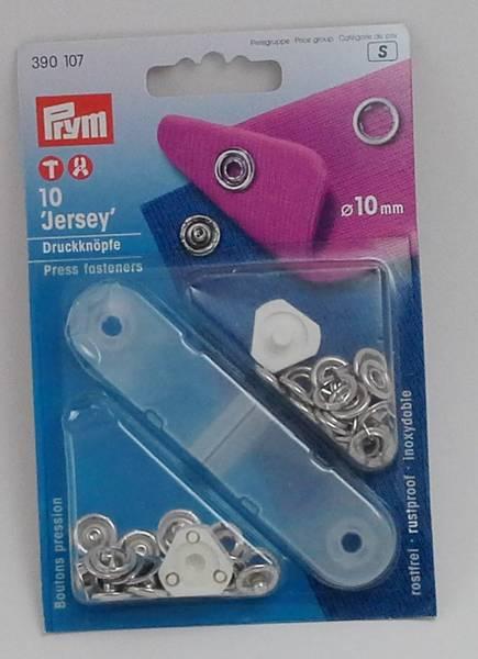 Bilde av Trykknapper - Jersey - med verktøy - 10 mm - sølv ring