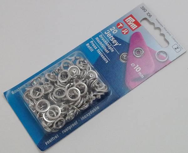 Bilde av Trykknapper - Jersey - refill uten verktøy - 10 mm - sølv ring