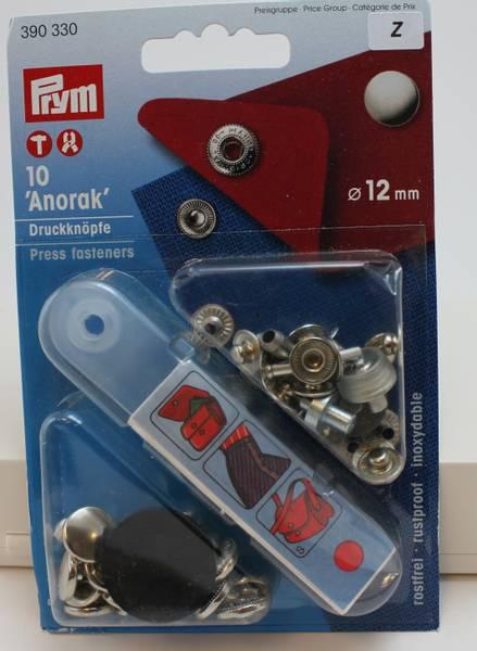 Bilde av Trykknapper - Anorakk - med verktøy - 12 mm - sølv kappe