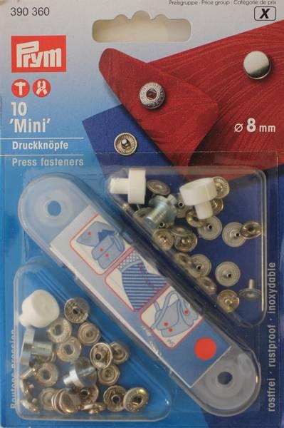 Bilde av Trykknapper -  Mini - med verktøy - 8 mm - sølv kappe, 10 st.