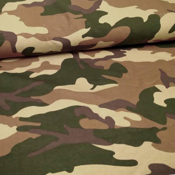 Bilde av French Terry - grønn-brun-beige camouflage