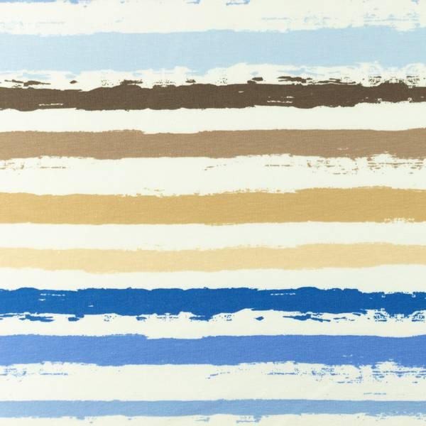 Bilde av Bomullsjersey - ca 12 mm striper - blå-sand-offwhite