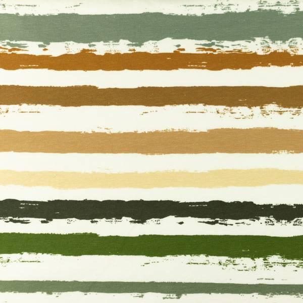 Bilde av Bomullsjersey - ca 12 mm striper - kaki-brun