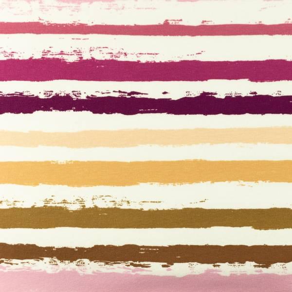Bilde av Bomullsjersey - ca 12 mm striper - lilla-sand