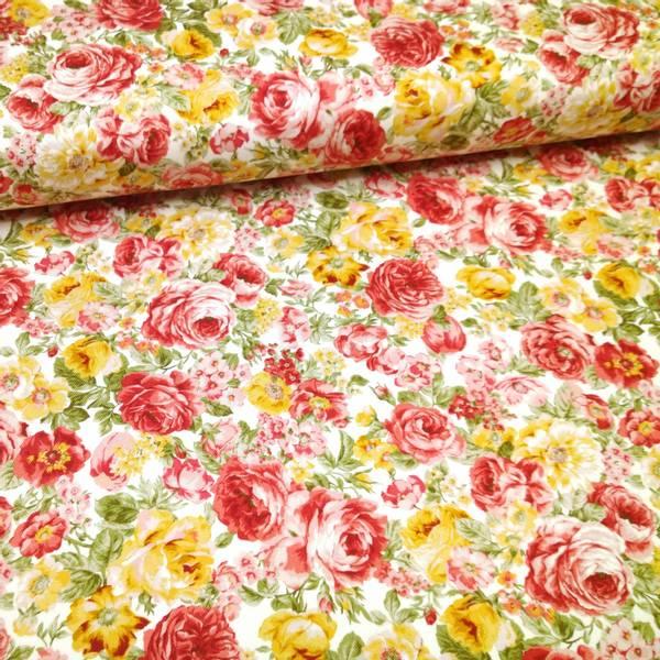 Bilde av 50 cm Kraftig bomull - 2-4 cm roser - rød-gul på natur