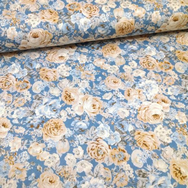 Bilde av Kraftig bomull - 2-4 cm roser - pastell på blå