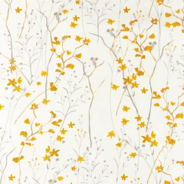 Bilde av Bomullsjersey - blomsterkvister, gul