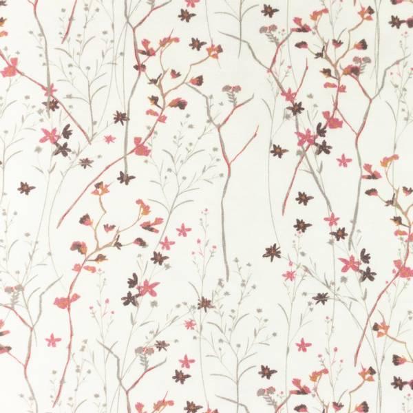 Bilde av Bomullsjersey - blomsterkvister, gammelrosa