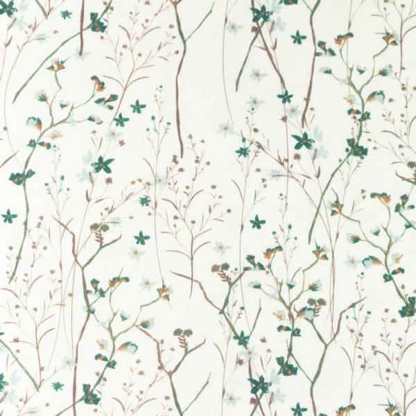 Bilde av Bomullsjersey - blomsterkvister, grønn