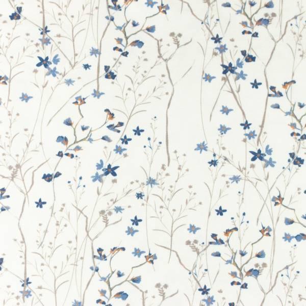 Bilde av Bomullsjersey - blomsterkvister, dusblå