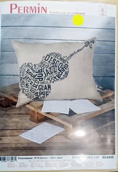 Bilde av Broderi - Pute m tekst i gitar, 62*50 cm