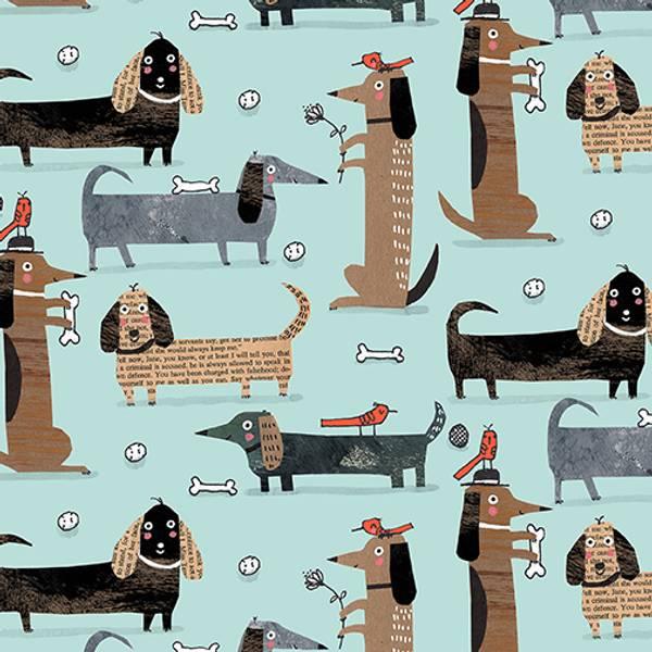 Bilde av It's raining cats & dogs - 6 cm hunder på lysblå