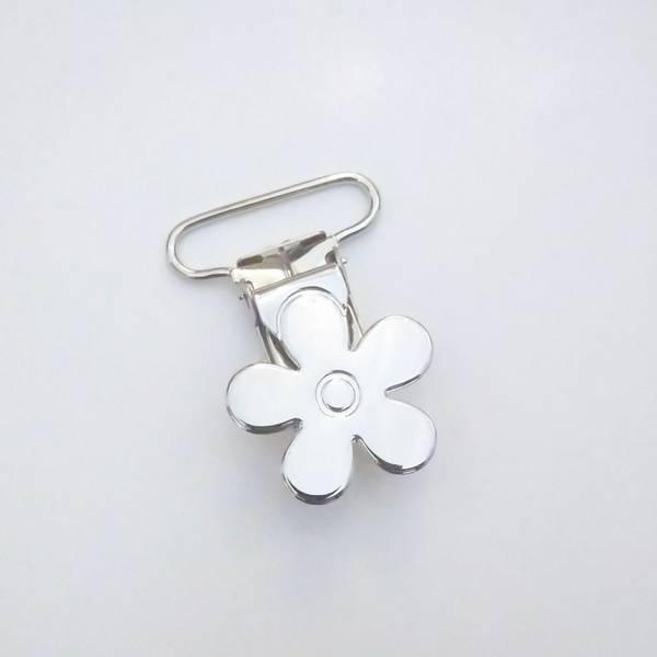 Bilde av Seleklips - blomst, 25 mm, sølv