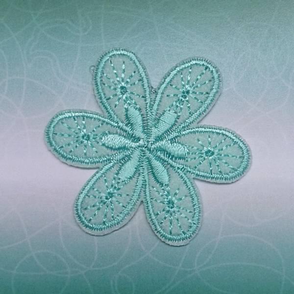 Bilde av Symerke med lim - 4,5 cm blomst, aqua