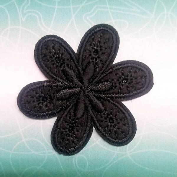 Bilde av Symerke med lim - 4,5 cm blomst, sort