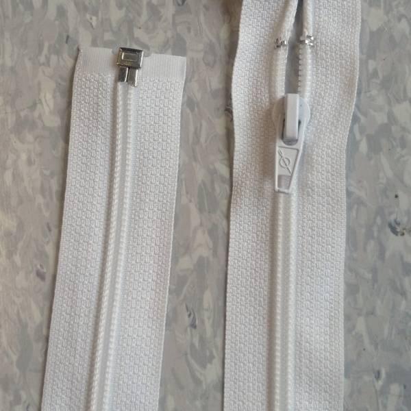 Bilde av Hvit jakke glidelås, 6mm delbar spiral